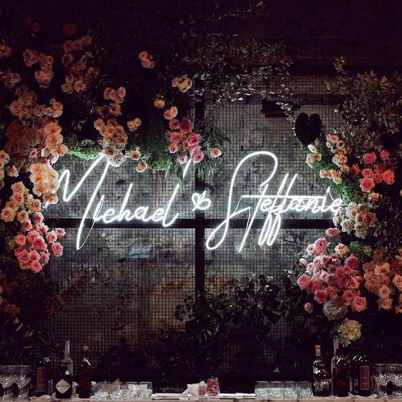 neonowe wesele, napisy na wesele