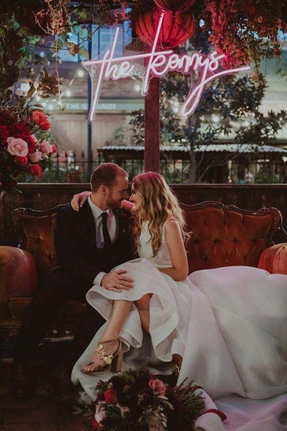 neonove wesele, napisy na wesele
