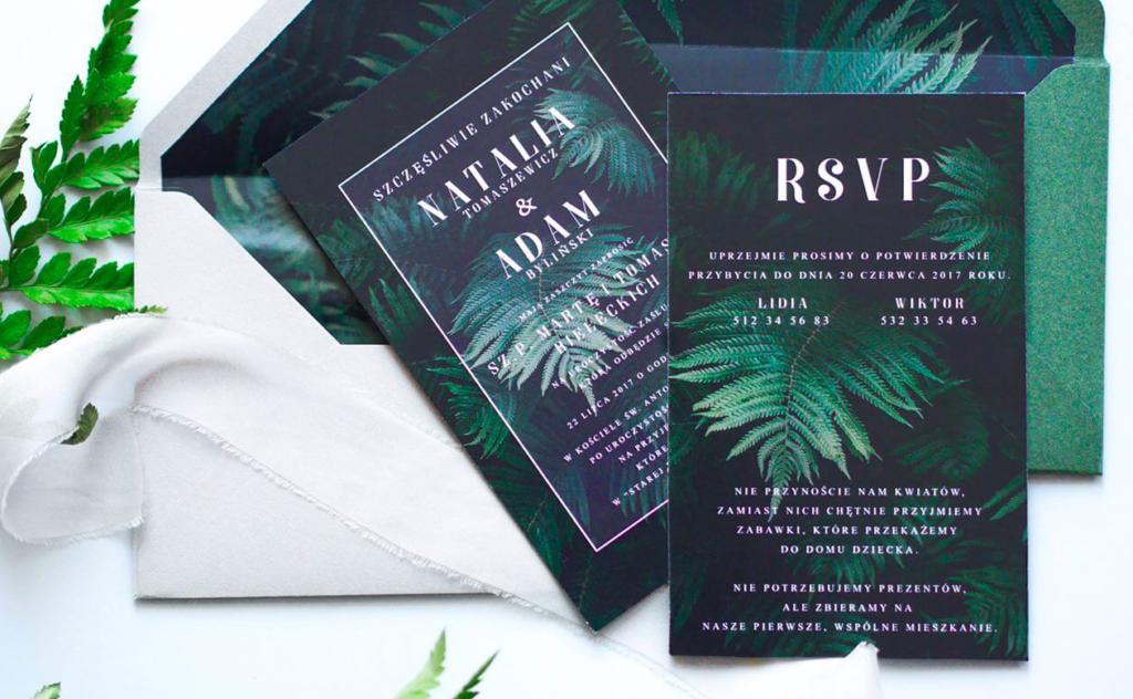 zaproszenia ślubne z palmami