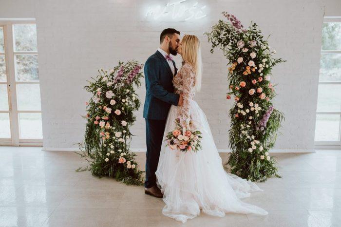 dekoracja światłem sali weselej